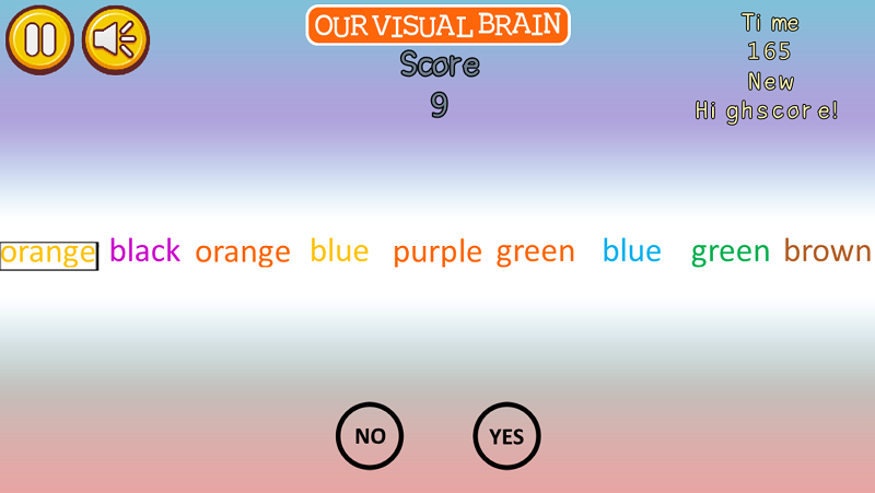 "If the color of the text and the meaning of the word are the same, tap ""Yes""; if they are not the same, tap ""No"" i.e. if the text says blue and the color of the text is blue, tap ""Yes""; if the text says red and the color of the text is blue, tap ""No""."