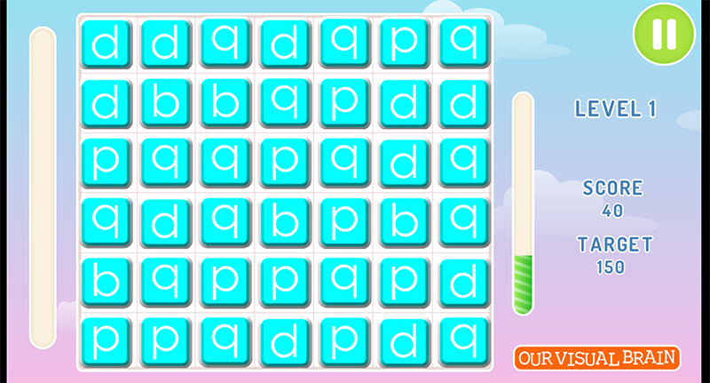 This puzzle is a Match 3 game; collect three or more of the same letter in a row or a column.