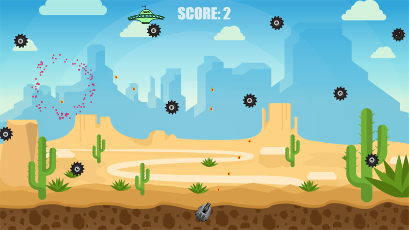 Shoot the spaceships before they get you! Extra points for hitting the UFO. Click and hold down either left mouse or finger on touch devices. Player continually fires following the mouse or finger.