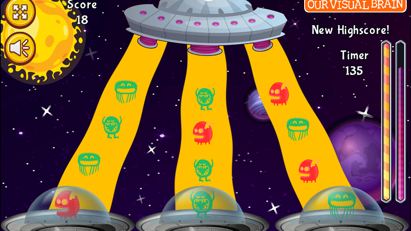 The Alien Army is trying to destroy the planets in the galaxy that supply food and water to its people. The galaxy needs your help to stop them! Line up the aliens that match each UFO