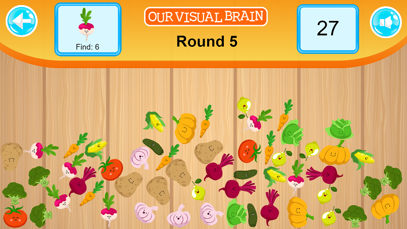 Look at the fruit or vegetable in the box located on the top left-hand portion of your screen. Read the number below this image and then click or tap the indicated amount in the jumbled mix.