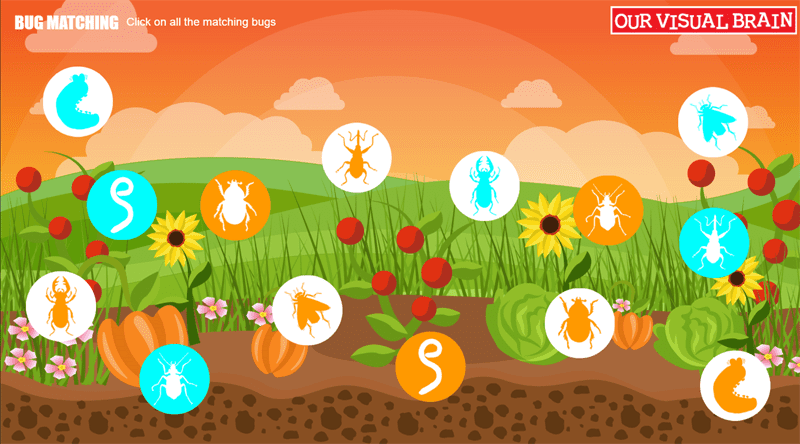 Bug Matching - Red/Green Matching Activity: The player is asked to match sets of bugs as they bounce around the screen. Three levels of difficulty.