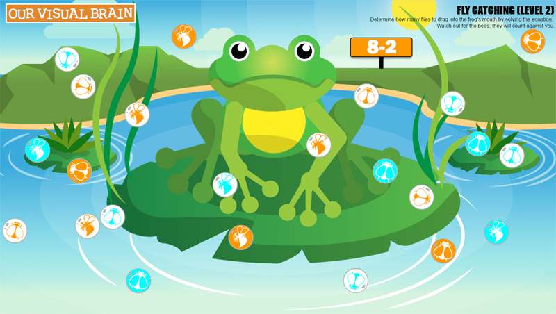 Fly Catching - Red/Green Math Activity: The player is asked to solve a math equation and drag and drop the correct number of flies into the frog's mouth as they bounce around the screen. Watch out for the bees! Three levels of difficulty.